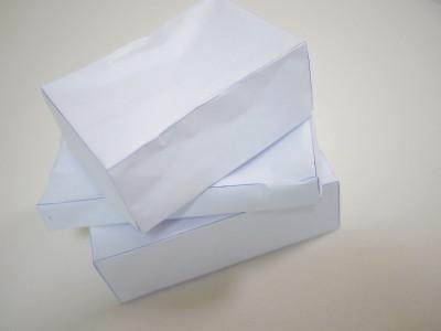 このように紙でお弁当箱の模型を作って袋の大きさを算出します。