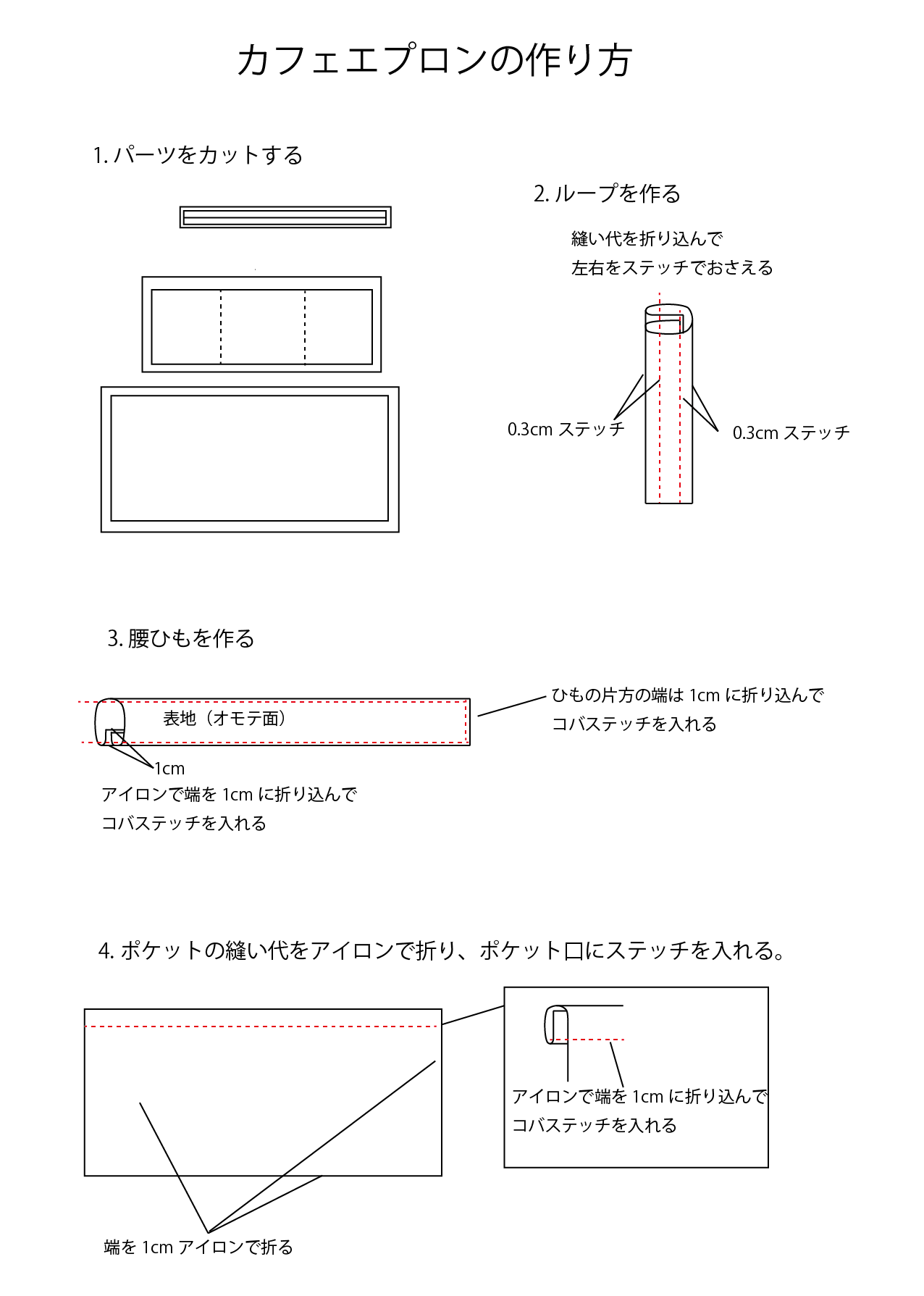 カフェエプロンの作り方01