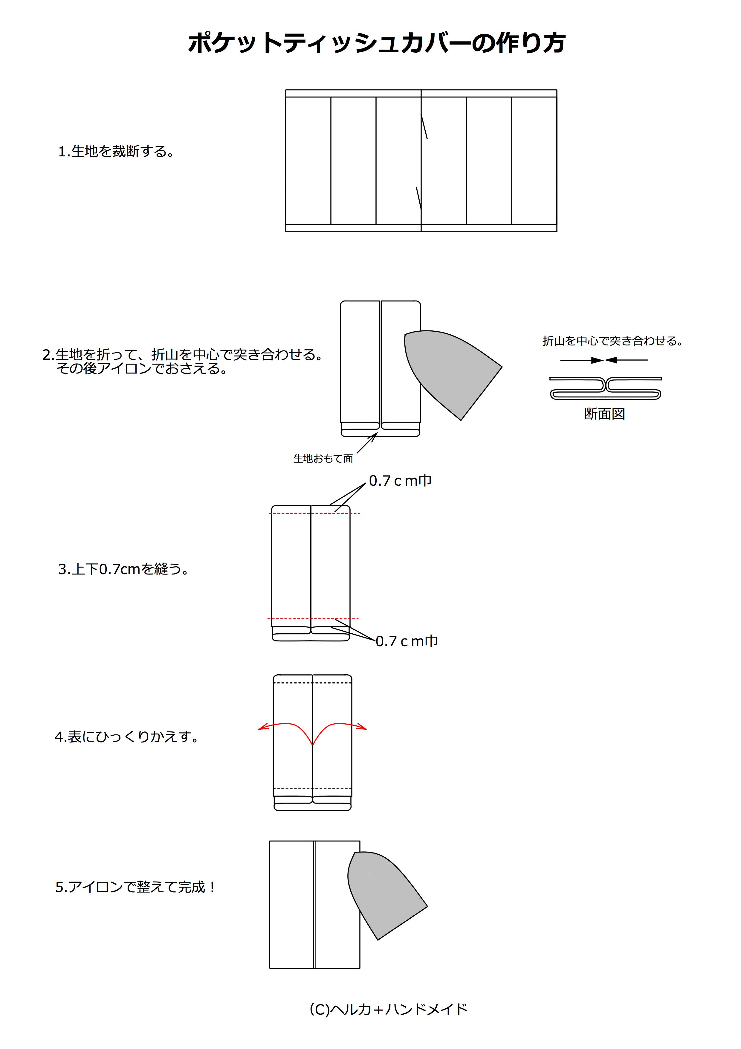 ポケットティッシュカバーの作り方01