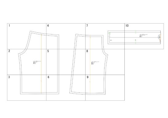 ベビーガウチョパンツの型紙完成図