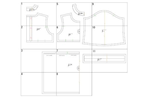 ベビーワンピースドレスの型紙完成図