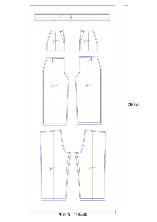 タックワイドパンツの用尺