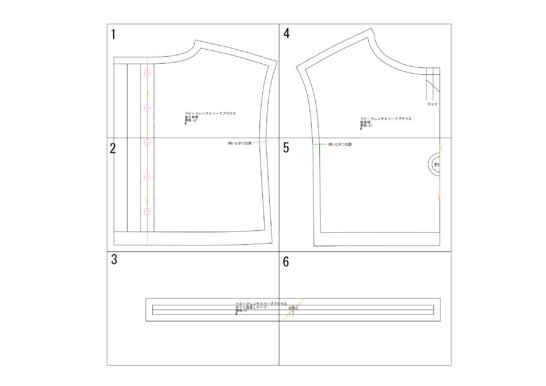 ベビーフレンチスリーブブラウスの型紙完成図