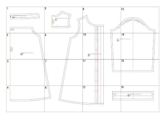 ベビー&キッズシャツワンピースの型紙完成図