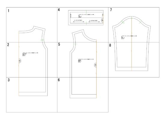 ベビーハイネック長袖Tシャツの型紙完成図