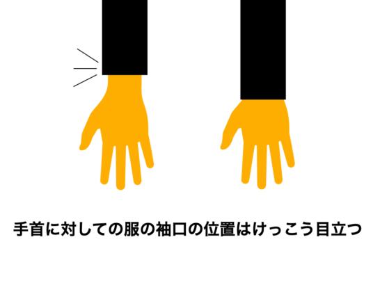 手首と袖丈の関係