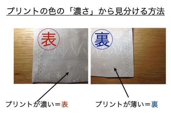プリントの濃さで布の表裏を見分ける方法