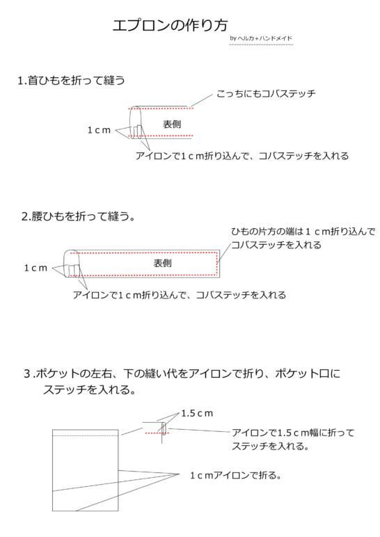 エプロンの作り方図解1