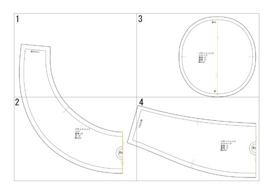 バケットハット型紙完成図