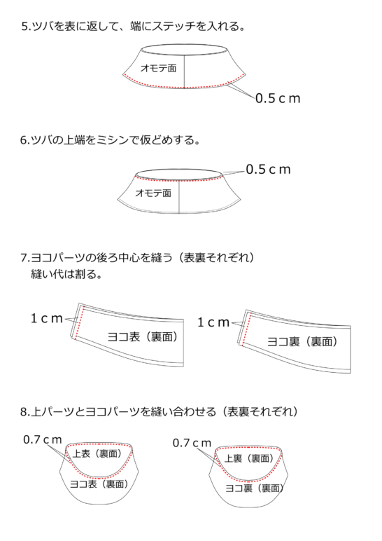 バケットハットの作り方2