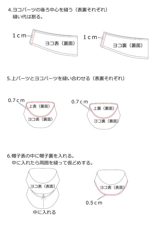 レディースワークキャップの作り方2