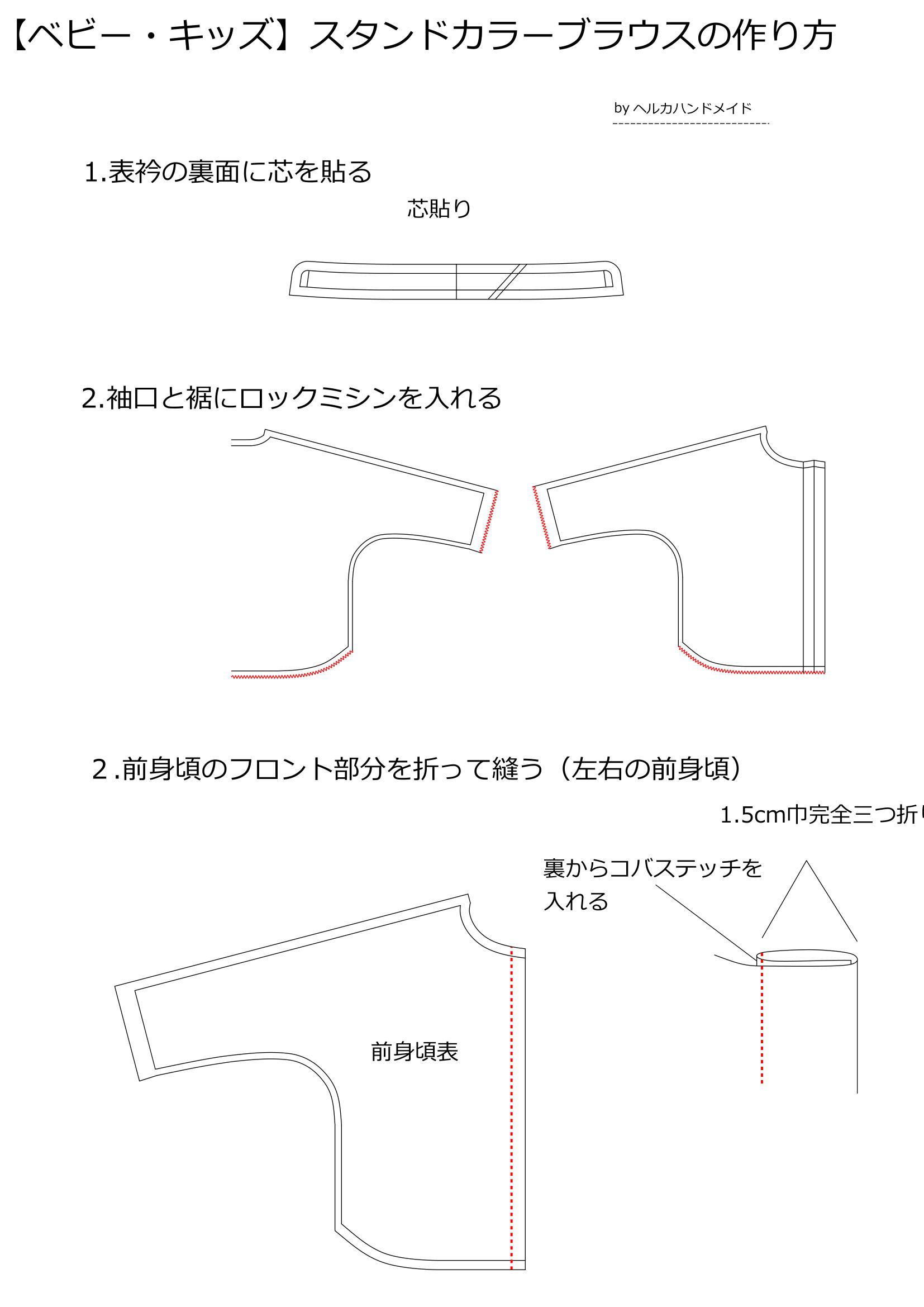 スタンドカラーブラウスの作り方1