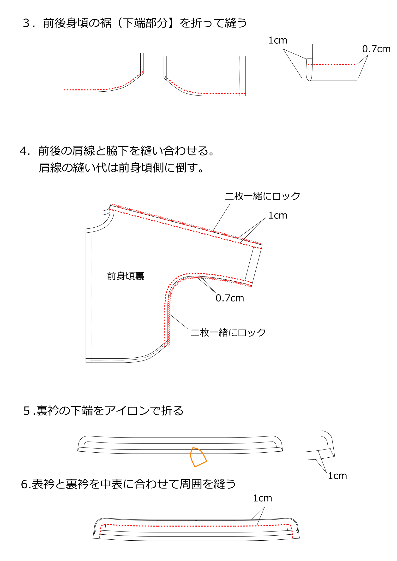 スタンドカラーブラウスの作り方2