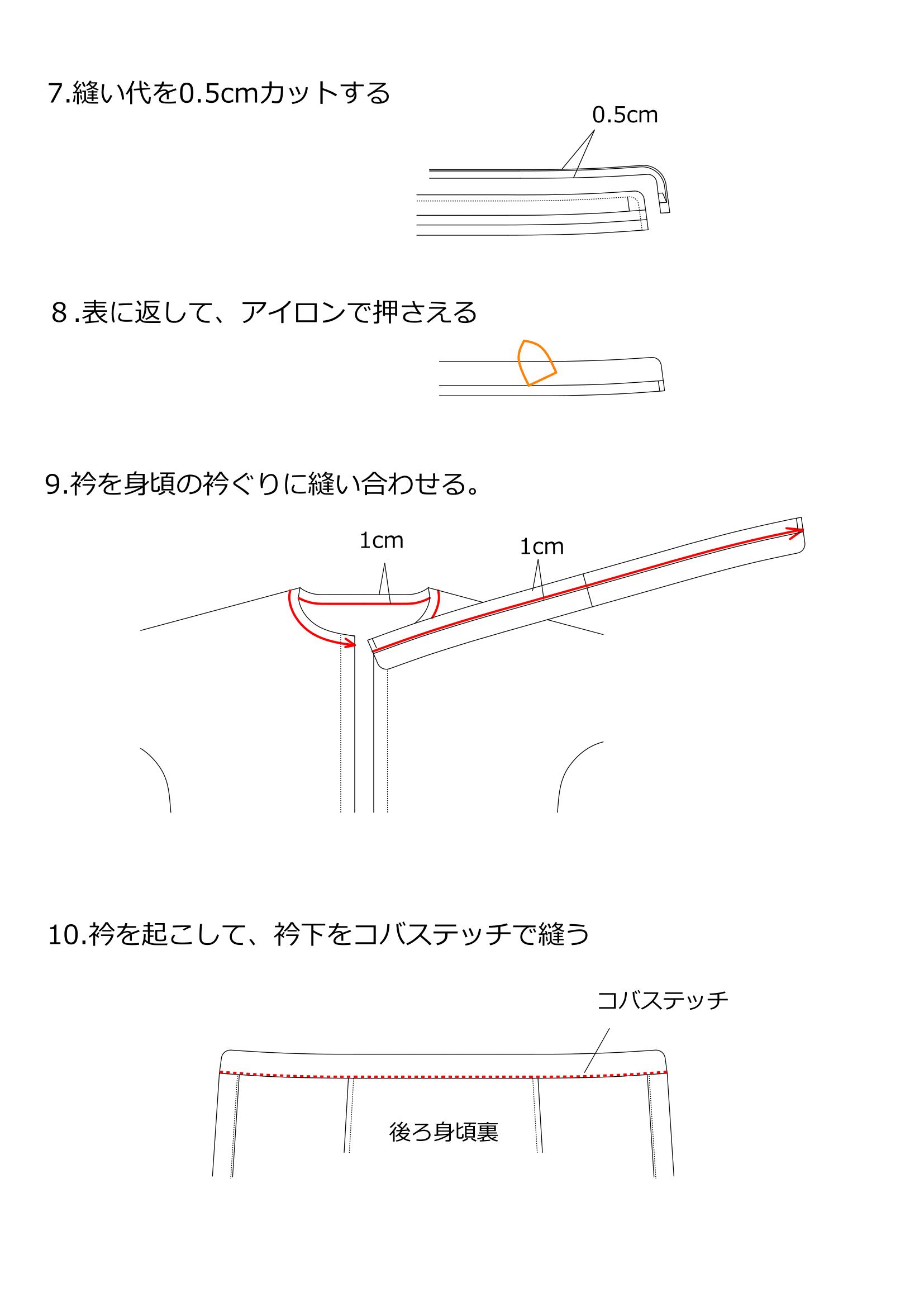 スタンドカラーブラウスの作り方3