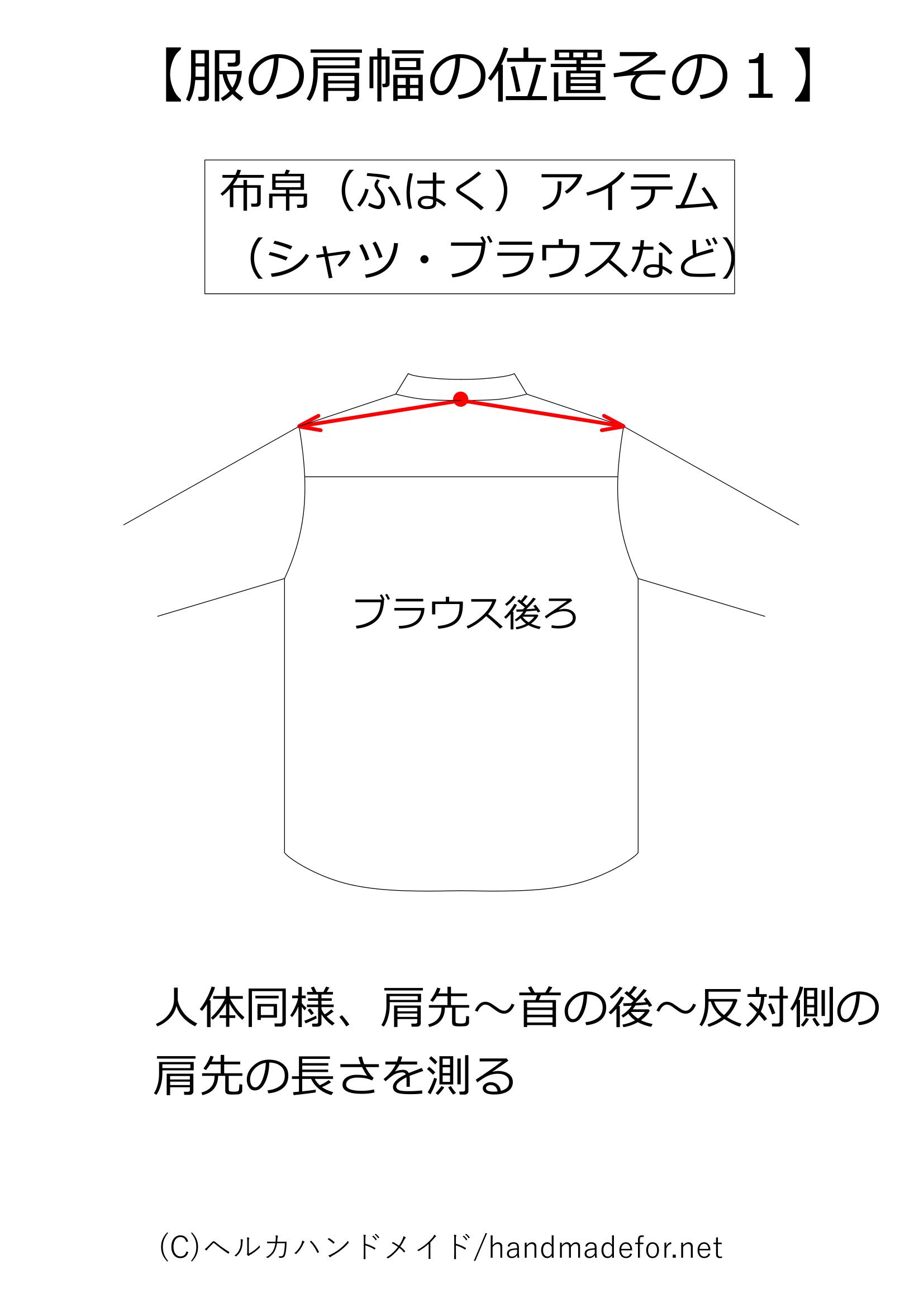 布帛タイプの服の肩幅の測り方